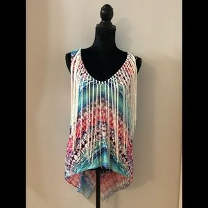 GENTLY WORN MULTI COLORED BEBE TANK WITH FRINGE